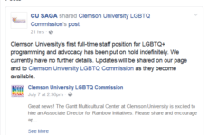 "Clemson Administration Withdraws Job Posting: ""Associate Director of Rainbow Initiatives"" -Alexander Cullen"