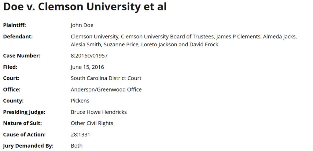 Doe V. Clemson University -Zachary Faria